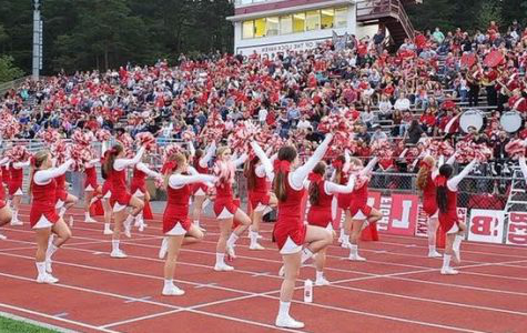The cheerleaders rally for the football team against Philipsburg-Osceola on September 7.