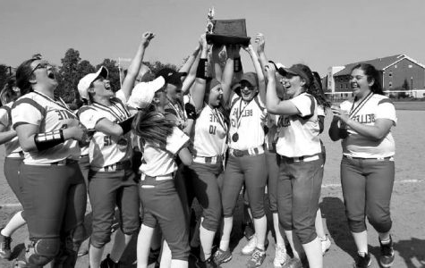 The softball team celebrates their District Title on Friday, May 31.